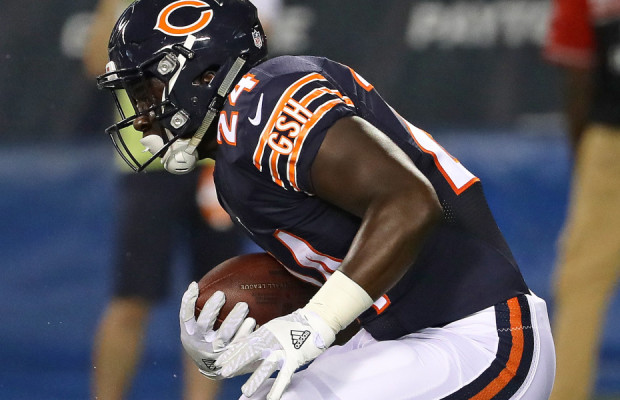 CHICAGO, IL - AUGUST 11:  Jordan Howard #24 of the Chicago Bears runs against the Denver Broncos at Soldier Field on August 11, 2016 in Chicago, Illinois. The Broncos defeated the Bears 22-0.  (Photo by Jonathan Daniel/Getty Images)