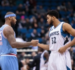 Dec 18, 2015; Minneapolis, MN, USA; Minnesota Timberwolves center Karl-Anthony Towns (32) and Sacramento Kings forward DeMarcus Cousins (15) shake hands before the game at Target Center. Mandatory Credit: Brad Rempel-USA TODAY Sports