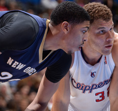 LOS ANGELES, CA - MARCH 1: Anthony Davis #23 of the New Orleans Pelicans and Blake Griffin #32 of the Los Angeles Clippers wait to attempt a rebound at STAPLES Center on March 1, 2014 in Los Angeles, California. NOTE TO USER: User expressly acknowledges and agrees that, by downloading and/or using this Photograph, user is consenting to the terms and conditions of the Getty Images License Agreement. Mandatory Copyright Notice: Copyright 2014 NBAE (Photo by Andrew D. Bernstein/NBAE via Getty Images)