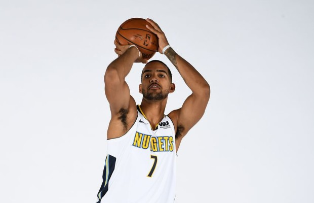 DENVER, CO - SEPTEMBER 25: Trey Lyles #7 of the Denver Nuggets poses for a photo during media day on September 25, 2017 at the Pepsi Center in Denver, Colorado. NOTE TO USER: User expressly acknowledges and agrees that, by downloading and/or using this Photograph, user is consenting to the terms and conditions of the Getty Images License Agreement. Mandatory Copyright Notice: Copyright 2017 NBAE (Photo by Garrett W. Ellwood/NBAE via Getty Images)